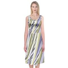 Wavy Ribbons Background Wallpaper Midi Sleeveless Dress
