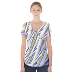 Wavy Ribbons Background Wallpaper Short Sleeve Front Detail Top