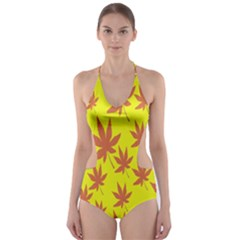 Autumn Background Cut Out One Piece Swimsuit