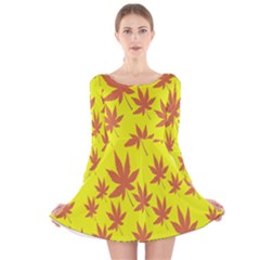 Autumn Background Long Sleeve Velvet Skater Dress