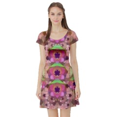 It Is Lotus In The Air Short Sleeve Skater Dress