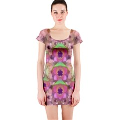 It Is Lotus In The Air Short Sleeve Bodycon Dress