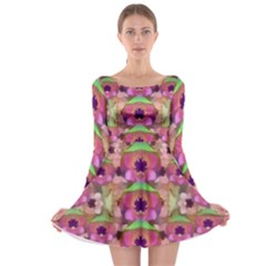 It Is Lotus In The Air Long Sleeve Skater Dress