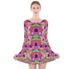 It Is Lotus In The Air Long Sleeve Velvet Skater Dress