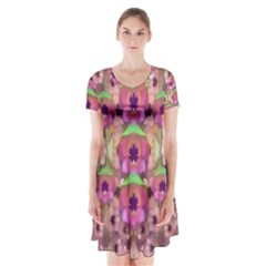 It Is Lotus In The Air Short Sleeve V-neck Flare Dress