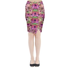 It Is Lotus In The Air Midi Wrap Pencil Skirt