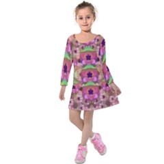 It Is Lotus In The Air Kids  Long Sleeve Velvet Dress