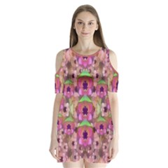 It Is Lotus In The Air Shoulder Cutout Velvet  One Piece