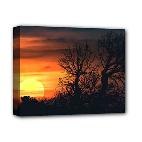 Sunset At Nature Landscape Deluxe Canvas 14  x 11