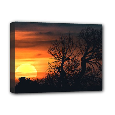 Sunset At Nature Landscape Deluxe Canvas 16  x 12
