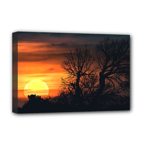 Sunset At Nature Landscape Deluxe Canvas 18  x 12
