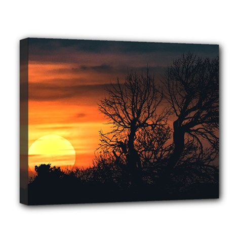Sunset At Nature Landscape Deluxe Canvas 20  x 16