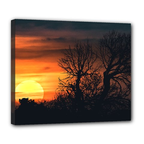 Sunset At Nature Landscape Deluxe Canvas 24  x 20