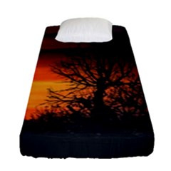 Sunset At Nature Landscape Fitted Sheet (Single Size)