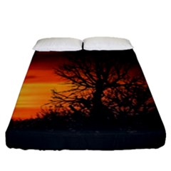 Sunset At Nature Landscape Fitted Sheet (Queen Size)
