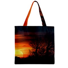 Sunset At Nature Landscape Zipper Grocery Tote Bag