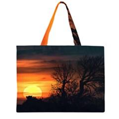 Sunset At Nature Landscape Zipper Large Tote Bag