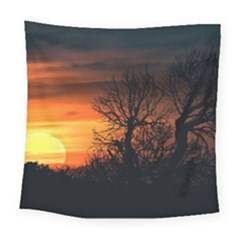 Sunset At Nature Landscape Square Tapestry (Large)
