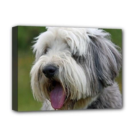 Bearded Collie Deluxe Canvas 16  x 12