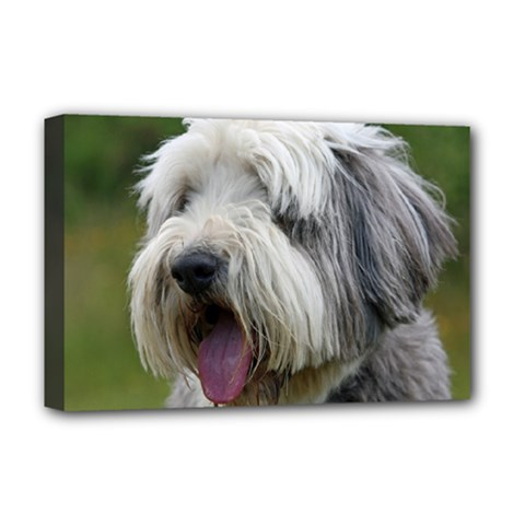 Bearded Collie Deluxe Canvas 18  x 12