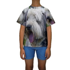 Bearded Collie Kids  Short Sleeve Swimwear