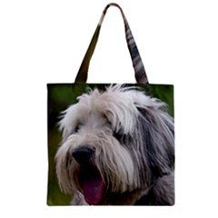 Bearded Collie Zipper Grocery Tote Bag