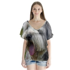 Bearded Collie Flutter Sleeve Top