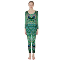 Peacock Frenzy Long Sleeve Catsuit