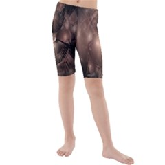 A Fractal Image In Shades Of Brown Kids  Mid Length Swim Shorts