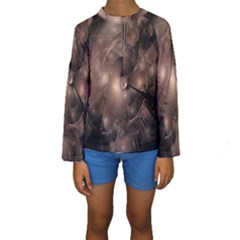A Fractal Image In Shades Of Brown Kids  Long Sleeve Swimwear