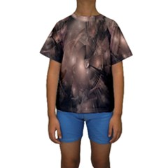 A Fractal Image In Shades Of Brown Kids  Short Sleeve Swimwear