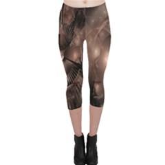 A Fractal Image In Shades Of Brown Capri Leggings