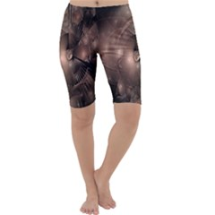 A Fractal Image In Shades Of Brown Cropped Leggings