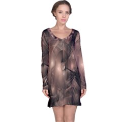 A Fractal Image In Shades Of Brown Long Sleeve Nightdress