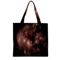 A Fractal Image In Shades Of Brown Zipper Grocery Tote Bag