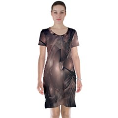 A Fractal Image In Shades Of Brown Short Sleeve Nightdress