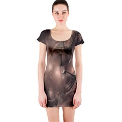 A Fractal Image In Shades Of Brown Short Sleeve Bodycon Dress