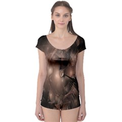 A Fractal Image In Shades Of Brown Boyleg Leotard
