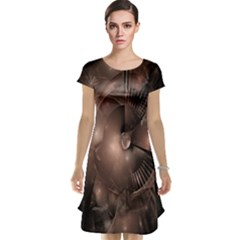 A Fractal Image In Shades Of Brown Cap Sleeve Nightdress