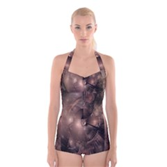 A Fractal Image In Shades Of Brown Boyleg Halter Swimsuit