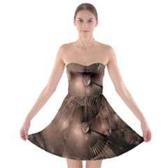 A Fractal Image In Shades Of Brown Strapless Bra Top Dress