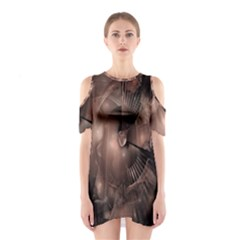 A Fractal Image In Shades Of Brown Shoulder Cutout One Piece