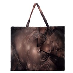 A Fractal Image In Shades Of Brown Zipper Large Tote Bag