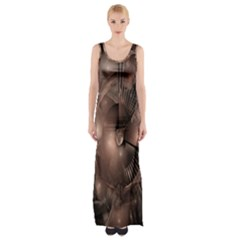 A Fractal Image In Shades Of Brown Maxi Thigh Split Dress