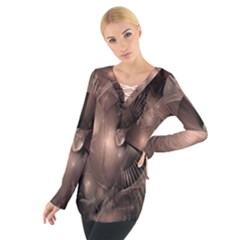 A Fractal Image In Shades Of Brown Women s Tie Up Tee