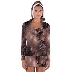 A Fractal Image In Shades Of Brown Women s Long Sleeve Hooded T Shirt