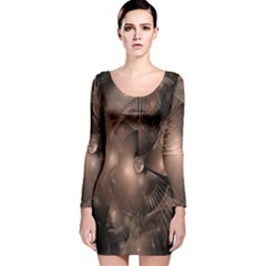 A Fractal Image In Shades Of Brown Long Sleeve Velvet Bodycon Dress