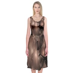 A Fractal Image In Shades Of Brown Midi Sleeveless Dress