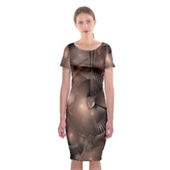 A Fractal Image In Shades Of Brown Classic Short Sleeve Midi Dress
