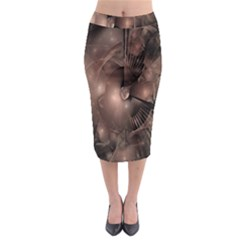 A Fractal Image In Shades Of Brown Midi Pencil Skirt